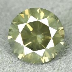 Diamond – 0.53 ct, NO RESERVE PRICE, Natural Fancy Intense Greenish Yellow