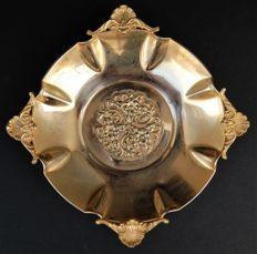 Antique Gold Plated Footed Bowl, European, First Half of 20th Century