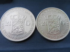 The Netherlands - 2½ guilders, 1940 and 1943 Wilhelmina - silver.