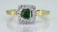Diamond ring with 0,50ct intense fancy olive deep green color cushion diamond and 0,30ct witte diamond - maat 55