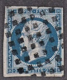France 1860 – 25c blue cancelled large square dots signed Calves – Yvert no. 15