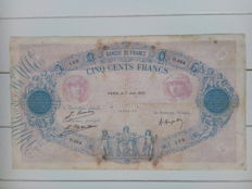 France - 500 francs 1922 - Pink and blue - Fayette 30.26