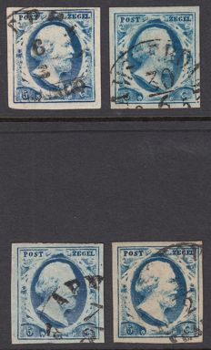 The Netherlands - King Willem III, first emission - NVPH 1c, 1d, 1e and 1f