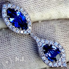 Blue Sapphire Pendant Necklace And Natural Diamond in 18 kt White Gold 2.81 ct - Certified - No Reserve