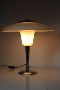 designer unknown - Milk glass chrome table lamp
