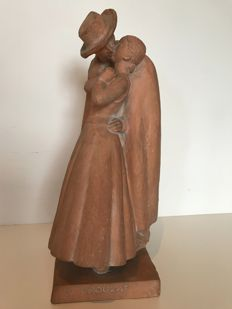 Georges Crouzat ( 1904-1976 ) - 'Pastourelle' - Sculpture in terracotta