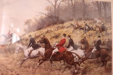 Pair of watercolored  engravings - hunter scene , England mid 20th