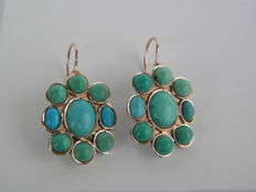 Antique style earrings with natural turquoise - first half of the 20th Century