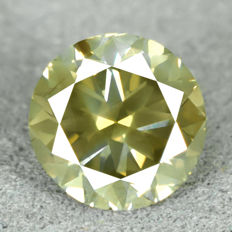 Diamant - 1.01 ct, Natural Fancy Intense Yellowish Green Si2