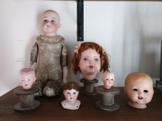 Porcelain heads and doll, Germany
