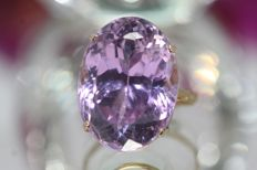 18 kt gold ring, set with an amethyst of 22 ct, size 54
