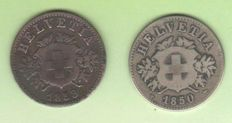 Switzerland - 20 centimes 1850 and 1858