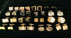 16.pairs of vintage men's  cuff links in gold plated and silver tone