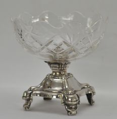 Crystal bowl with silver base - probably Belgium/Brussels - ca 1860
