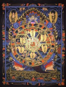 Hand painted Thangka painting, representing Wheel of life - Tibet/Nepal - 21st century