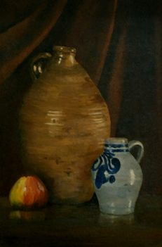 C. Bleek (20the century) - Still life with old stone jug, Cologne jug and apple
