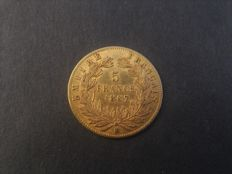 France – 5 Francs 1867 BB – Napoleon III – gold