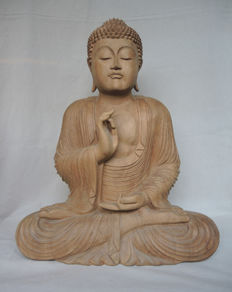 Large wood carving of Buddha - Thailand - end of 20th century