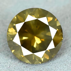 Diamond - 3.01 ct, NO RESERVE PRICE - Natural Fancy Dark Yellowish Green Si2