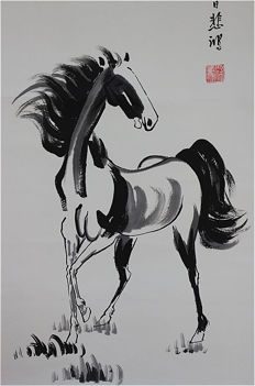 A Hand-painted ink painting of horse with book《徐悲鸿--马》- China - late 20th century