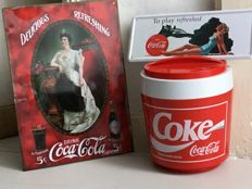 Vintage Coca-Cola Coke - Large advertising ice cube box Ca 1980 _ and two metal advertising signs Ca. 2000