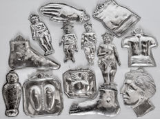 Mixed lot of silver ex-voto, Italy, 19th century