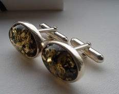 Elegant oval cufflinks for men - natural Baltic amber - colour green - silver 925 - no pressed - UV test