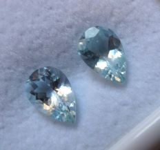 Aquamarine Matching Pair – 2.08 ct Total