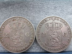 The Netherlands - 2½ guilder coins 1854 and 1862, Willem III - silver