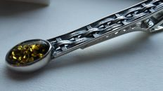 Elegant tie pin for men - natural Baltic amber -  colour green - silver 925 - no pressed - UV test