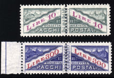 San Marino, 1953 – Parcel Post, wheel watermark, complete series – Sass. Nos. 35/36.