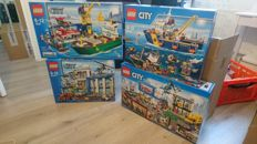 Lego City - 4645 + 60047 + 60095 + 60097 - Harbor + Police Station + Deep Sea Exploration Vessel + City Square