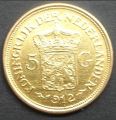 Netherlands - 5 Gulden 1912 Wilhelmina (restrike) - gold