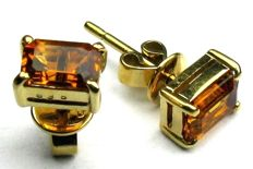 Citrine stud earrings solid 14 kt / 585 yellow gold