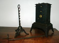 Tourne Broche - wrought and cast iron roasting-spit with working mechanism - France - 19th century