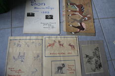 Disney, Walt - Original drawing - Fawn figuring project - Snow White and the 7 dwarfs (1958)