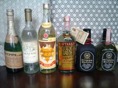 Ceretto, Brunello, Bosso, Monanaro & Meneghini. - 6 Very old bottles of Grappa - Bottled 1960s/70s