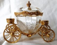 Franklin Mint, Disney Austria - 24K gold plated Austrian crystal coach of Cinderella, detailed crafts, jewellery box
