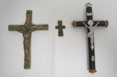 Catholic and Orthodox crucifixion. The beginning and the middle of the 20th century.