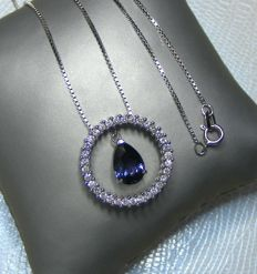 Unheated exceptional VVS 100% natural sapphire and diamonds of 3.06 ct, gold necklace - Length 46 cm - GIA certificate - Necklace length 43 cm - No reserve price