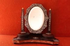 Wooden lady's vanity mirror with silver details - Portugal - late 19th century