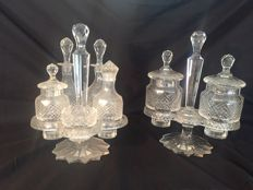Crystal oil & vinegar set in diamond cut - the Netherlands - c. 1890