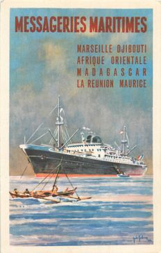 Boats - Batch of 50 postcards from the early 1900s to the 1930s themed 'boats of the Messageries Maritimes et Commerces'