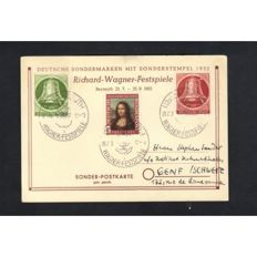 Set Of (3) Bavaria/Bayreuth/Bohemia & Monrovia Germany 1936/1952/1955 Richard Wagner Postcard & Cover Set - Multi-Stamped Card & Covers