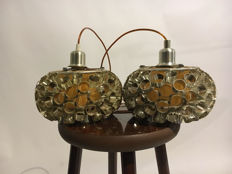 Designer unknown - two ball hanging lamps - 1960 - Italy