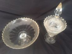 Tazza and ginger coupe crystal cut - the Netherlands - c. 1900