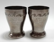 Two silver plated trophies, 1932 j
