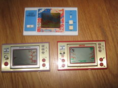 Lot of 3 LCD handhelds. One Space Invaders and 2 Nintendo Game & Watch Snoopy Tennis and Mickey Mouse