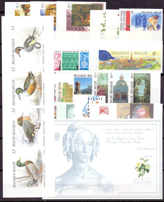 Belgium 1989 - Composition imperforated stamps and booklets (ducks of Buzin) and blocks (Roses of Redouté) with back number