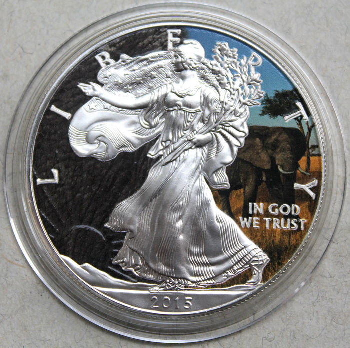 USA - 1 dollar 2015 Eagle Animals Elephant colorized -silver